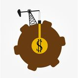 Oil derrick, oil production icon Royalty Free Stock Photo