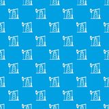 Oil derrick pattern seamless blue Royalty Free Stock Photography