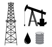 Oil derrick with pump and barrel - set - vector Royalty Free Stock Images