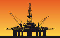 Oil derrick in sea. For industrial design vector illustration