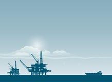 Oil derrick in sea. For industrial design royalty free illustration