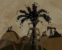 Oil derrick throwing out money Royalty Free Stock Photos