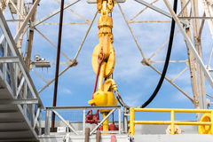 Oil derrick with top drive for ocean drilling Stock Photography