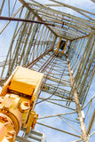 Oil derrick with top drive for ocean drilling Stock Photo