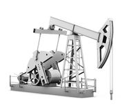 Oil derrick  on white background. 3d rendering.  Royalty Free Stock Image