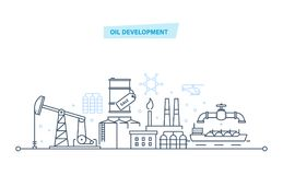 Oil development. Industry, gas station technology and petroleum systems development. Oil industry, production industry process, oil factory, warehouse Royalty Free Stock Images