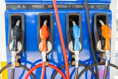 Oil dispenser with Gasoline fuel pumps Fuel Tank petrol. Bangkok Thailand royalty free stock image