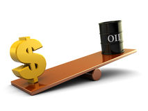 Oil and dollar. 3d illustration of dollar sign and dollar barrell on scale board stock illustration