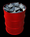 Oil Dollars. A 3D oil drum with dollars floating in oil isolated on black royalty free illustration