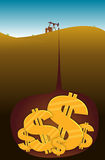 Oil Dollars. Oil well extracting dollars from beneath the earth stock illustration
