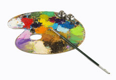 oil drawing board with pen  Stock Photography