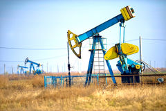 Oil drill. Drilling oil with pump for energy Stock Images