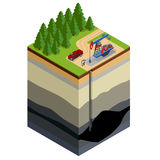 Oil drilling exploration concept. Engineer writing on the paper in front of the natural gas pipes.Refinery, gas and oil. Flat 3d isometric illustration. For royalty free illustration