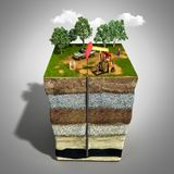Oil drilling exploration concept Engineer writing on the paper i. N front of the natural gas pipes Refinery gas and oil Flat 3d illustration For infographics and Stock Image