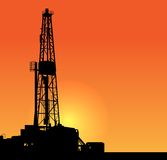 Oil drilling illustration. sunset Stock Images