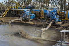 Oil drilling mud pumps. Mud pumps in use on an oil drilling rig Stock Photography