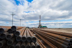 Oil drilling pipe on the background Stock Photography