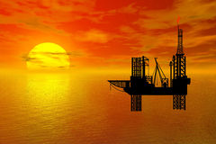 Oil-drilling platform. Sunset over sea with oil-drilling platform in front Royalty Free Stock Image