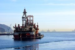Oil Drilling Platforms at Tenerife Canary Islands Royalty Free Stock Images