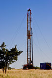 Oil Drilling Rig. Drilling for oil on the prairie of central Oklahoma Stock Image