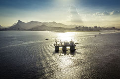 Oil drilling rig against panorama of Rio De Janeiro stock photo