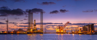 Oil drilling rig construction Panorama royalty free stock photography