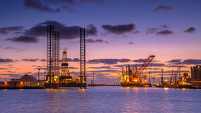 Oil drilling rig construction site stock image