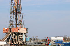 Oil drilling rig with equipment Royalty Free Stock Image