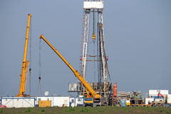 Oil drilling rig and machinery Stock Photo