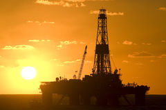 Oil Drilling rig  silhouete Stock Photo