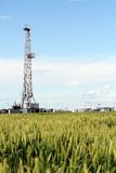 Oil drilling rig on wheat field Stock Images