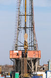 Oil drilling rig with workers Stock Photography