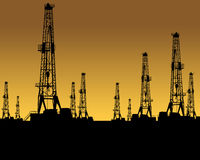OIL GAS INDUSTRY. Silhouette of nine land based oil drilling rigs during oil boom concept. oilfield oil gas industry industrial drill driller drilling rig pump vector illustration