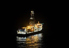 Oil drilling ship on the sea Stock Photos