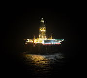 Oil drilling ship on the sea Royalty Free Stock Images