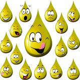Oil drop cartoon with many expression Stock Photo