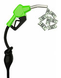 Oil drop dollar banks. 3d Fuel nozzle with hose isolated on white background, Save oil, 3d render Royalty Free Stock Image