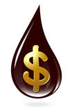 Oil drop with dollar symbol Royalty Free Stock Photo