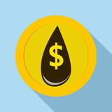 Oil drop and dollar symbol icon, flat style Royalty Free Stock Photos