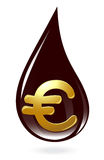 Oil drop with euro symbol Royalty Free Stock Images