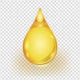 Oil gold drop isolated on transparent background. Oil drop isolated on transparent background. Icon of drop of oil or honey stock illustration