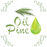 Oil drop, pine oil cosmetic falling from leef with decoration elements  on white background Royalty Free Stock Photos