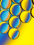 Oil droplets in water with colorful background. Stock Image