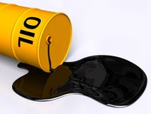 Oil drum. Oil pouring out of a fallen drum. Digital illustration Royalty Free Stock Photography