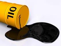 Oil drum. Oil pouring out of a fallen drum. Digital illustration stock illustration