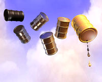 Oil drum. 3d illustration of oil drums flying over cloudy sky Royalty Free Stock Photography