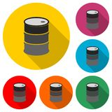 Oil drum container, barrel flat icon or logo, color set with long shadow. On white stock illustration