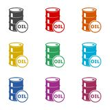 Oil drum container, barrel flat icon or logo, color set. On white royalty free illustration