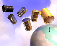 Oil drum and earth globe. 3d illustration of oil drums flying over earth globe Royalty Free Stock Image