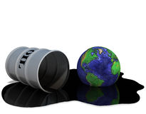 Oil Drum Earth Oilspill Energy. Oil drum / barrel and Earth in an oil spill puddle; 3D render illustration Royalty Free Stock Photography